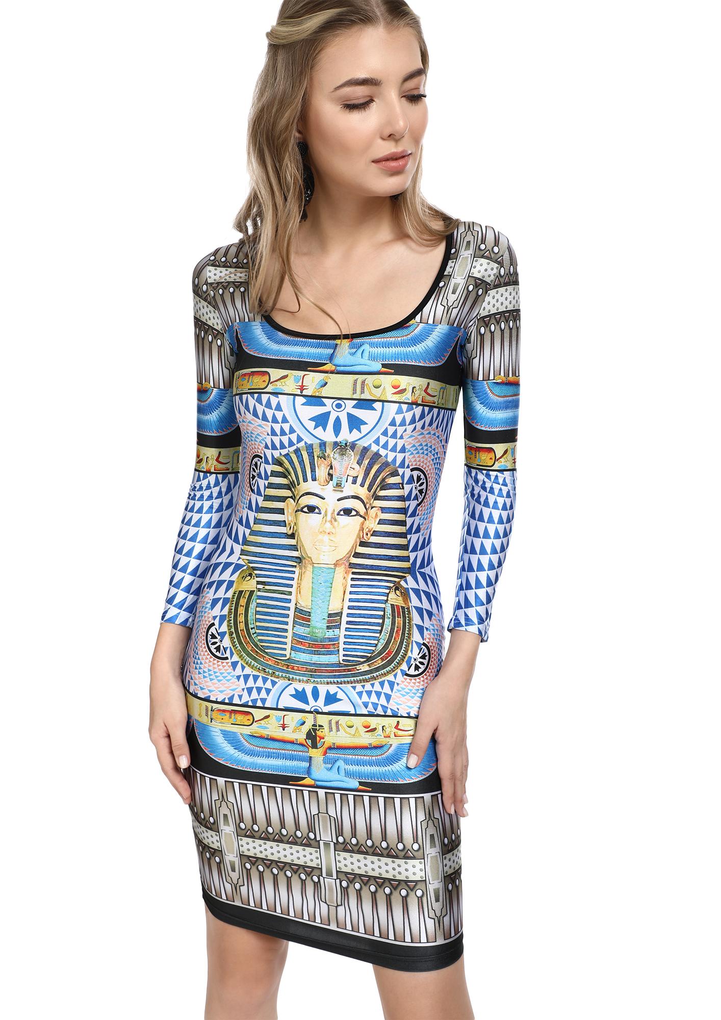 THE EGYPTIAN BEAUTY MULTICOLOR BODYCON DRESS